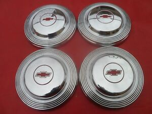 Vintage 1966 Chevy 427 Impala Belair Dog Dish Poverty Hubcaps Wheel Covers