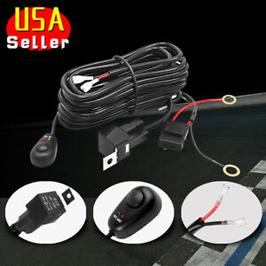 Led Light Bar Wiring Harness Kit 12v 40amp Fuse Relay On Off Switch