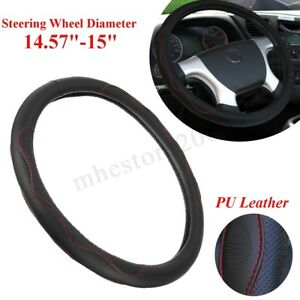 Black Red Steering Wheel Cover Pu Leather For Toyota Honda Nissan Mazda