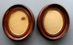 Pair Antique 19th Century Oval Walnut Picure Frames Civil War Era Circa 1860
