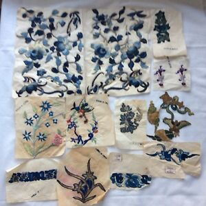 Antique Old Chinese Gold Silk Embroidery Flowers Appliqu S Lot Unused