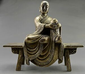 Collectible Old Handwork Silver Plate Copper Carved Buddha Sit Bench Statue