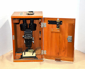 Vintage Bausch Lomb Stereo Microscope With Wood Case