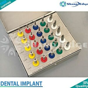 Dental Implant Conical Drill Kit With Stoppers Surgical Oral Surgery 25pcs New