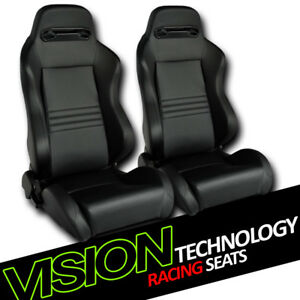 T r Type Blk Stitch Pvc Leather Reclinable Racing Bucket Seats W sliders L r V26