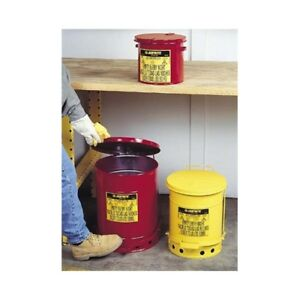 Justrite 09100 6 Gallon Oily Waste Can W Foot Operated Cover Red Justrite 09100