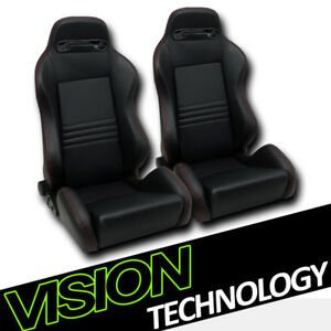 T R Blk Pvc Leather Red Stitch Reclinable Racing Bucket Seats Sliders V2 L R V17