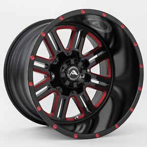 20x10 American Off road A106 5x114 3 Et 24 Black Red Tint Wheels set Of 4