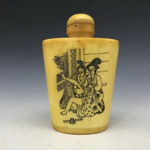 Bone Fine Carving Chinese Antique Snuff Bottle Man And Woman Picture Sl