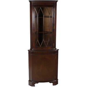 English Antique Style Bow Front Corner Cabinet Cupboard Narrow Tall Glass Wood