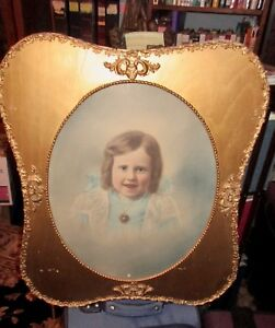 Large Antique 1800 S Ornate Picture Frame 21x26 Oval Opening Gesso Beaded Girl