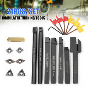 7pc Set Of 10mm Lathe Turning Tool Holder Boring Bar W Dcmt ccmt Carbide Insert