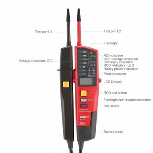 Uni t Ut18c Voltage Continuity Electrical Lcd Led Two Pole Tester Detector Ji