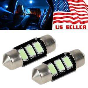 2x Ice Blue Error Free Led Bulbs 31mm Festoon Interior Light Car Accessories 12v