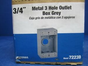 Lot Of 16 Sigma Electric 14252 Metal 3 4 3 hole Outlet Box All weather Gray