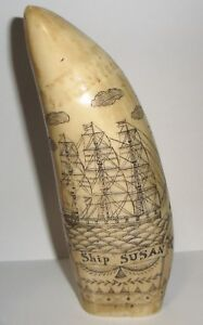 Scrimshaw Sperm Whale Tooth Resin Replica Ship Susan 1830 Realistic Looking