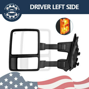 Fit 08 15 Ford F250 Superduty Power Heated Extendable Towing Mirror Driver Left
