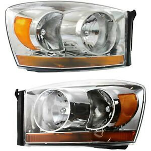 Halogen Headlight Set For 2006 Dodge Ram 1500 Chrome Interior W Bulbs Pair