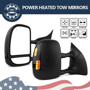 Pair Smoke Tow Mirrors Power Heated Signals For 99 07 Ford F250 F350 Super Duty