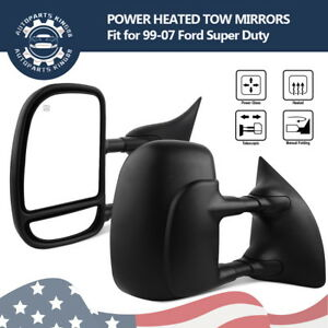 Pair For 99 07 Ford F250 F350 Super Duty Towing Mirrors Power Heated