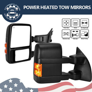 Pair For 99 07 Ford F250 F350 Super Duty Tow Mirrors Power Heated Amber Signals