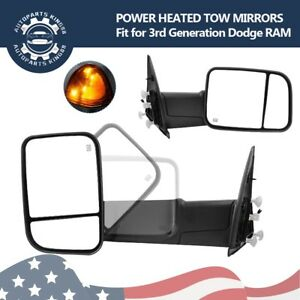 Pair Tow Mirrors For 2002 08 Dodge Ram 1500 03 09 2500 3500 Power Heated Signal