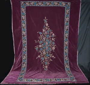 Antique Bedspread Velvet Spread With Hand Embroidery Flowers King Size