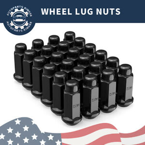 24 Black Long Bulge Acorn Lug Nuts 14x2 0 Fits Ford F 150 Expedition Navigator