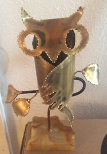 Vtg Metal Owl Sculpture Mid Century Atomic Danish Modern Art Bird Perch Statue