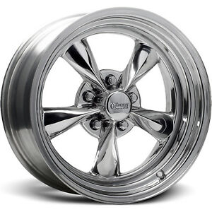 17x7 Chrome Rocket Racing Fuel Wheels 5x4 5 6 Ford Galaxie Fairlane Mustang