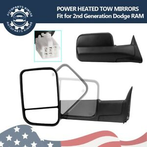 Pair Tow Mirrors For 98 01 Dodge Ram 1500 98 02 2500 3500 Power Heated New Style