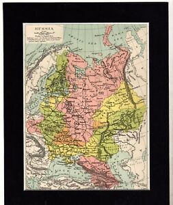 Map Russia Russian Mounted Ready To Frame C1890 10 X 8