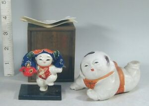 Japanese Dolls 2 Vtg Gofun Kaga Boy Bisque Gosho Crawl Baby Figure Figurine