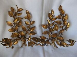 Two Vintage Antique Gold Metal Toleware 2 Candle Holder Wall Sconces 19 X 14