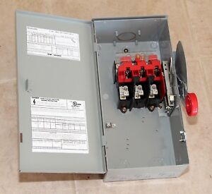 Eaton Heavy Duty Disconnect Safety Switch Dh361nrk 30a 600v 3 Pole Rainproof