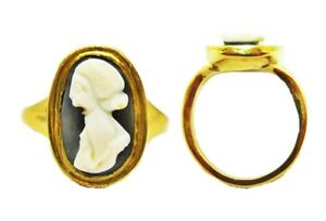 3rd Century A D Ancient Roman Hardstone Cameo Of Julia Mamaea 18k Gold Ring