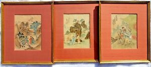 Set Of 3 Antique Chinese Paintings On Silk