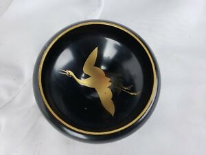 Great Black Vintage Japanese Lacquerware Bowl 3 1 2