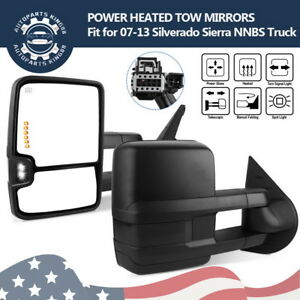 Tow Mirrors For 07 13 Chevy Silverado Power Heated Led Smoke Signals Spot Light