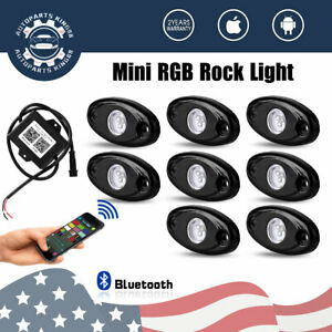 8x Led Rock Light Tail Lights Wireless Bluetooth Rgb Color Under Off Road Music