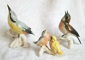 Vintage Karl Ens Porcelain Germany Lovely Bird Family 3 Piece Figurines