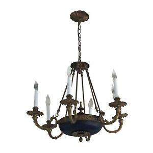 Salvaged Waldorf Empire Chandelier With Trumpet Arms