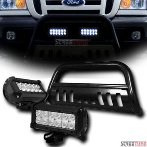 Blk Bull Bar Grill Grille Guard W 36w Cree Led Driving Fog Light 98 Ford Ranger