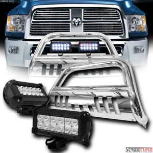 Chrome Bull Bar Grille Guard 36w Cree Led Fog Lights For 09 17 18 Dodge Ram 1500