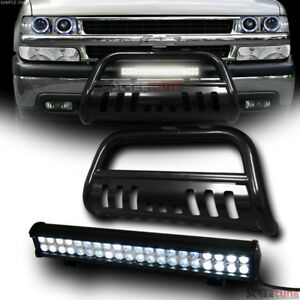 Black Bull Bar Grille Guard W 120w Cree Led Fog Light 99 06 Chevy Suburban Tahoe
