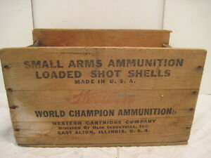 Wood Wooden Western World Champion Ammunition Small Arms Crate Box Advertising