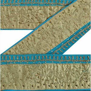 Vintage Sari Border Antique Hand Embroidered Trim Sewing Blue Patch Lace