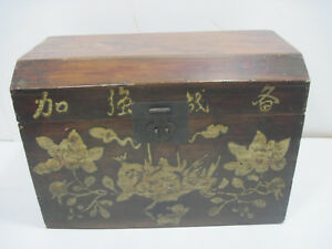 Old Wood Wooden Hand Carved Flowers Toy Box Toy Chest Crate Storage Japan