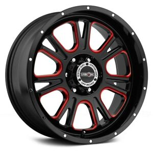 Vision Fury Wheels 17x8 5 0 6x139 7 106 2 Black Rims Set Of 4