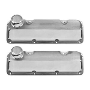 Valve Covers Finned Aluminum Polished With Caps Boss 302 351c